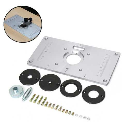 Aluminum Router Table Insert Plate With Rings and Screws for 62x70mm Woodworking Benches