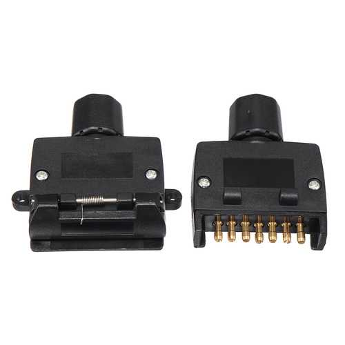 7 Pin Flat Male+7 Pin Plug Flat Female Trailer Connector Adapter Boat Car Socket