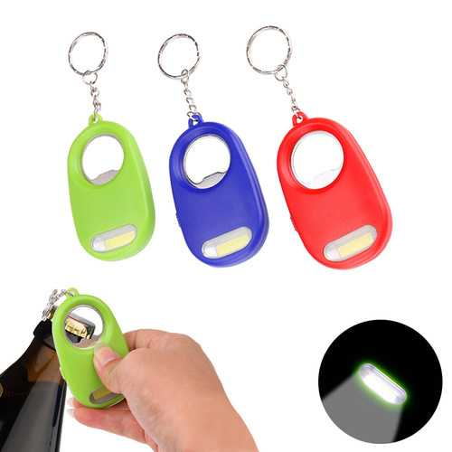 WY8405 COB Multifunctional Mini LED Flashlight Bottle Bear Opener Keychain Key Ring
