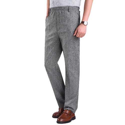 Men's Summer Thin Elastic High Waist Deep Suit Pants