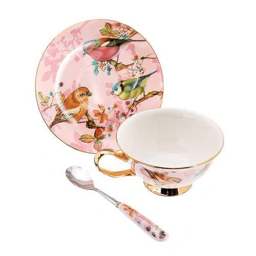 Fine Bone China Tea Coffee Cup Saucer Spoon Set 200ml Luxury Ceramic Mug