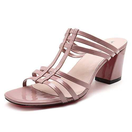 Women Shoes Roman Peep Toe Chunky Heel Sandals