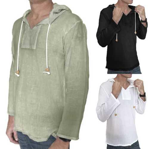 INCERUN Men's Vintage Solid Loose Fit T-Shirts