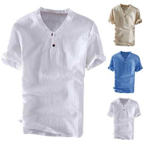 Men's Casual 100% Cotton Vintage V-Neck Button T-Shirts