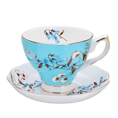 Porcelain Fashion British Bone China Cafe Cup Set Saucer Ceramic Flower Tea Set