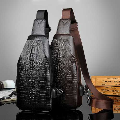 Men PU Leather Crocodile Printed Crossbody Bag Chest Bag