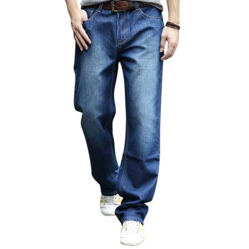 Men Big Size Loose Casual Mid Rise Straight Leg Casual Jeans