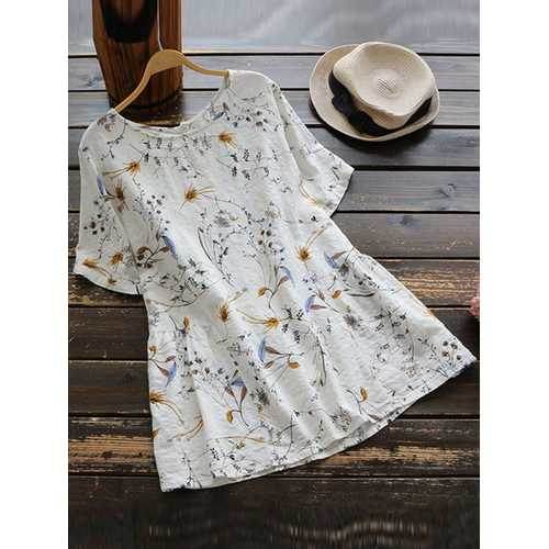Women Floral Print Round Neck Short Sleeve T-Shirts