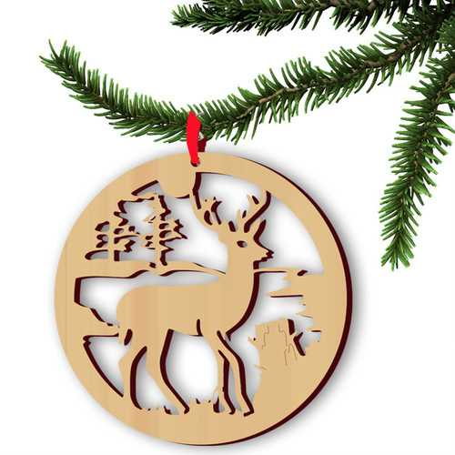 5pcs Wooden Christmas Deer Pendan Computer Laser Hollow Out Widget Ornaments Wooden Christmas Decorations
