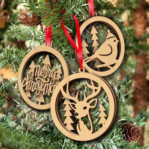 3Pcs Hollow Small Pendant Elk Birds Plain Natural Wood Christmas Ornaments Wedding Home Decorations