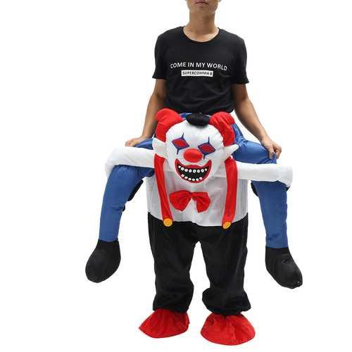 Devil Clown Unisex Dwarf Carry Me Fancy Piggy Back Ride On Dress Mascot Costume Party Pants