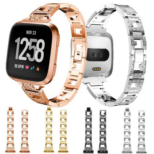 Bakeey Lady Bling Rhinestone Stainless Steel Watch Band Strap For Fitbit Versa