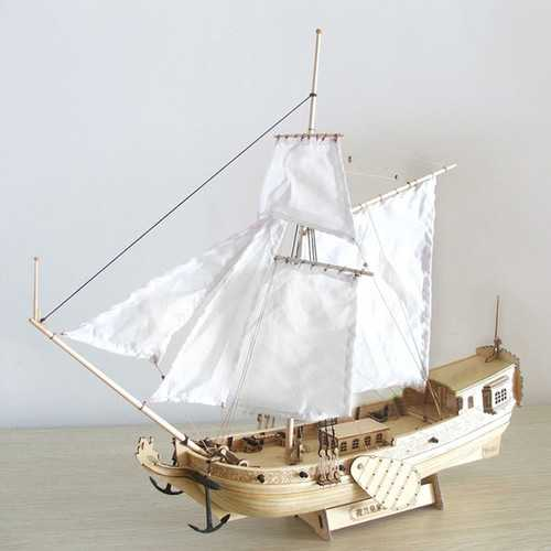 310mm Wooden Ship Model DIY Fishing Boat Laser Cut Assembly Model Kits Toys Gift