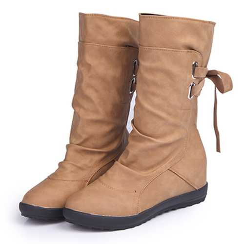 Women Shoes Large Size Lace Up Soft Mid Calf Boots