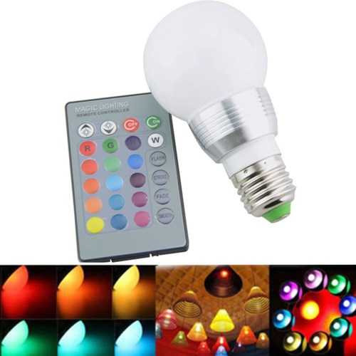 AC85-265 3W E27 E14 Dimmable RGB LED Light Bulb+24 Key IR Remote Controller for Home Party Decor