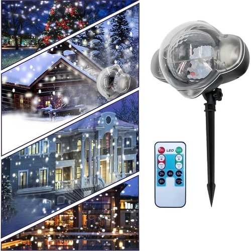 12W White 4 LED Remote Control Snowflake Christmas Projector Stage Light Waterproof AC100-240V
