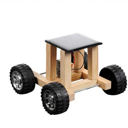 Solar Powered Toy Wooden Car Racer Educational Gadget Children Kid's Toys