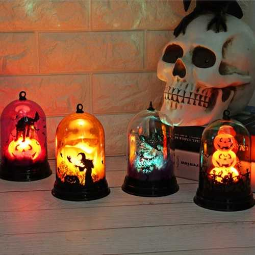 LUSTREON Battery Operated Halloween LED Pumpkin Candle Witch Cat Flame Scary Holiday Decor Light