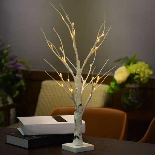 60CM Battery Power Silver Birch LED Tree Lamp Warm White Night Light Festival Christmas Decor Gift