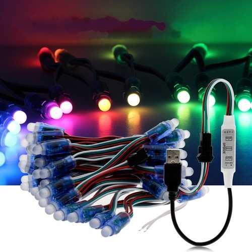 5M WS2811 RGB IP68 Full Color 50PCS Bulbs LED Pixel Module Strip Light with 3keys Controller DC5V