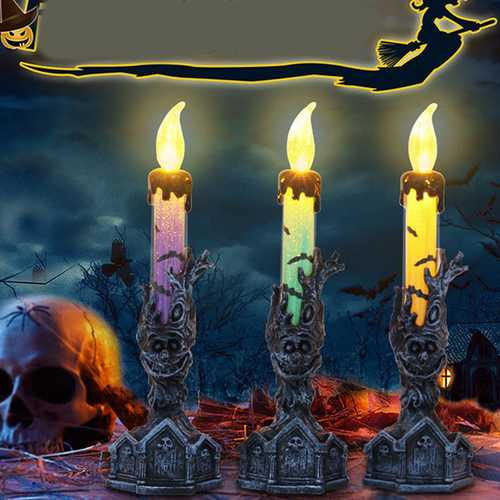 Halloween LED Candle Skull Skeletal Electronic Holiday Light for Scene Layout Props Ghost Decor