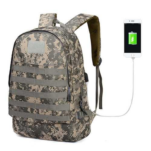 T0065 Oxford Tactical Bag Backpack With USB Charging Port Big Capacity PUBG Outdoor Hiking Climbing Bag Fishing Bag