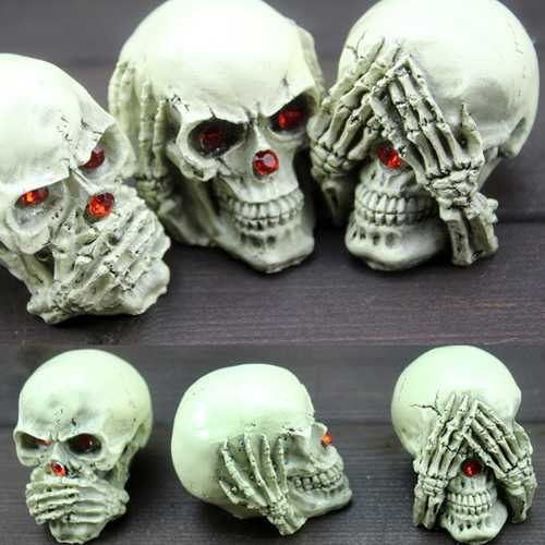 3PCS Halloween Party Resin Skeleton Ghost Decoration Toys Desk Decor