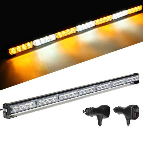 "31"" 28 LED Car Flashing Warning Light Bar Traffic Flash Strobe Lamp DC12V Amber & White"