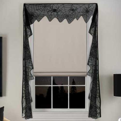 Gothic Black Lace Bat Curtains Valance Halloween Haunted House Spiderweb