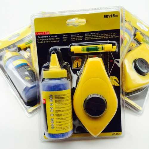 15M 50FT Chalk String Line Reel Level Set Kit Blue 110G Powder Tools ABS Plastic