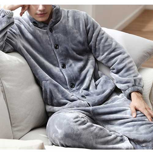 ChArmkpR Mens Winter Thick Warm Home Flannel Sleepwear Set