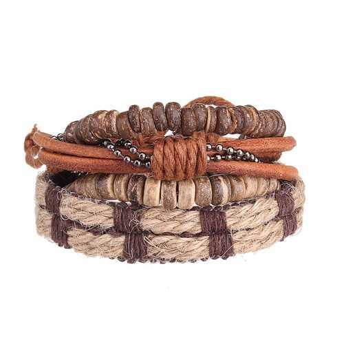4pcs Men Retro Stretch Cowhide Bracelet Row Woven Wristband