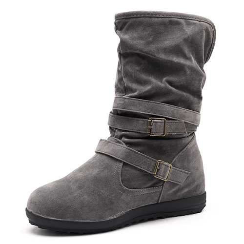 US Size 5-12 Warm Lined Buckle Snow  Mid Calf Boots