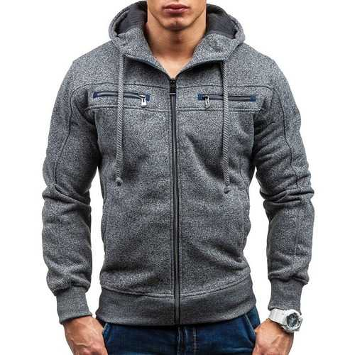 Men's Cotton Double Zipper Decoration Casual Sweatshirts