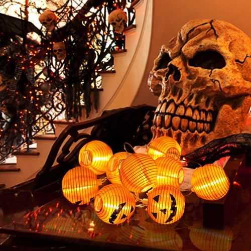 1.2M Battery Power Foldable 10 LED Warm White Halloween Pumpkin String Lantern Fairy Holiday Light