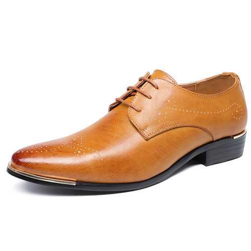 Men Comfy Lace Up Leather Business Shoes Formal Shoes