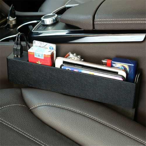 ABS Car Seat Crevice Gap Storage Box Organizer Phone Holder with USB Charging Port Universal