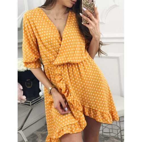Boho Half Sleeve Polka Dot Print Irregular Mini Dress