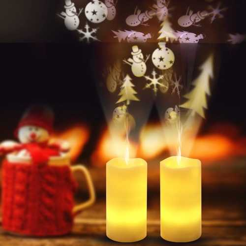 Battery PoweredChristmas Snowflake LED Candle Light Flameless Projection Flickering Remote Control
