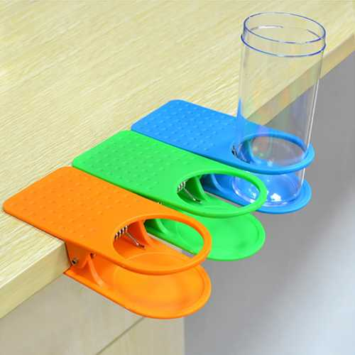 Honana Creative Home Office Desk Side Table Clip Design Coffee Mug Water Bottle Cup Holder Cup Tray