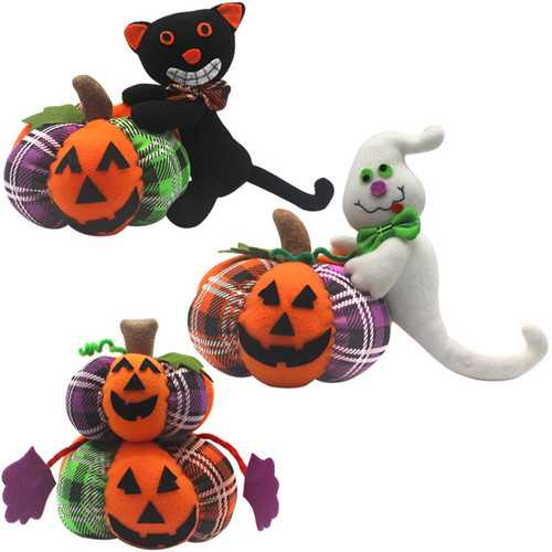 Halloween Stuffed Plush Toy 30cm Doll Pumpkin Ghost Black Cat Cartoon Party Doll