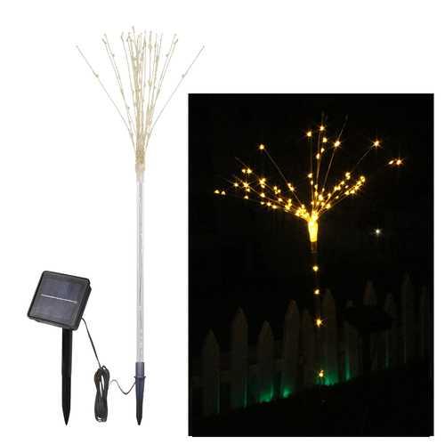 LUSTREON 2PCS Solar Powered DIY LED Firework Starburst Landscape Light for Outdoor Garden Ground Lawn Decor
