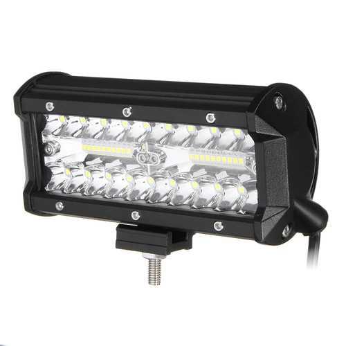 7 Inch Tri Row 40W LED Work Light Bars Flood Spot Combo Beam IP68 6000K for Off Road Truck SUV