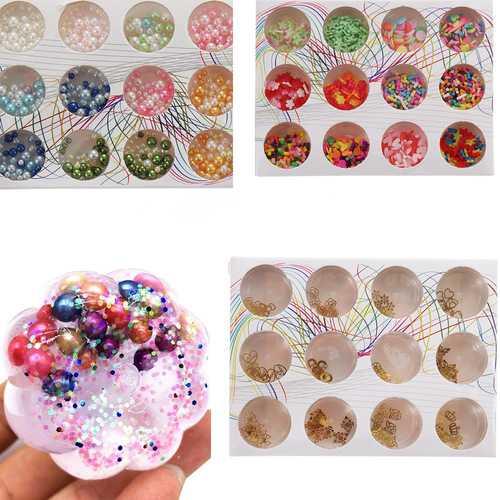12PCS/Set Handmade Slime DIY Material Colorful Beads Fruit Slice Soft Ceramic Granules Pearl Powder