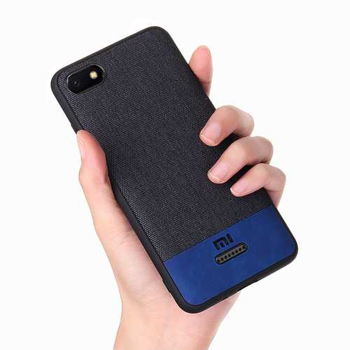 Bakeey Luxury Fabric Splice Soft Silicone Edge Shockproof Protective Case For Xiaomi Redmi 6A