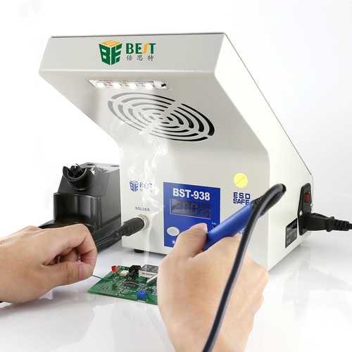 BEST BST-938 220V Multi-funcational 3 in 1 Soldering Iron Station Soldering Smoke Absorber LED Light