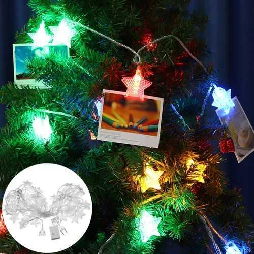 10M 8 Modes 38 LED Star Photo Clip Hanging Peg Fairy String Light for Wedding DIY Ins Decor AC220V
