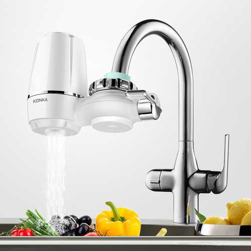 Faucet Water Filter Washable Filtration System Kitchen Basin Tap Purifier w/ 4Pcs Fis Most Faucets