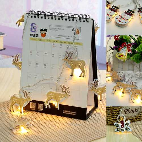 1.8M 10LED Bell Elk Snowman Candle Pattern Christmas String Light Holiday Lamp Party Decor