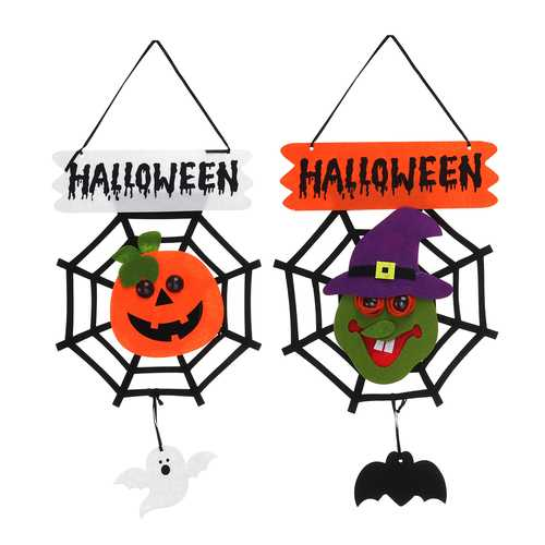 Witch Pumpkin Pattern Halloween Hanging Sign With LED Light Door Home School Office Party Mall Deco